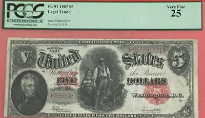 """1907 $5 PCGS US """"Wood Chopper"""" LARGE SIZE Currency Very Fine 25! Very Nice!"""