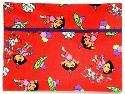 Dora the Explorer Toddler Pillowcase on Red Cotton D2-2 New Handmade