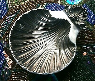 Silver Shell Dish Sea Shell Scalloped Tray Trinket Dish Made in England