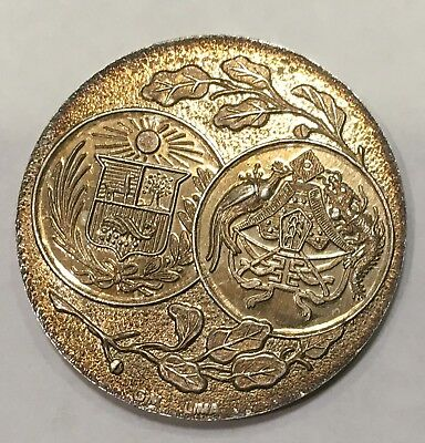 1921 CHINA. Colonists' Centennial of Peruvian Independence Silver Medal. 12.2g