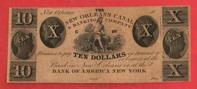 1800s $10 US CHoice Uncirculated New Orleans Louisiana LARGE SIZE Currency