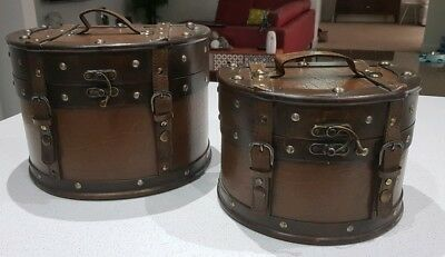 2 x Wood and Leather Jewellery Storage Box Case Holder Vintage Treasure Chest