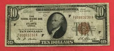 1929 $10 Brown Seal National Currency VG X230 Old US Paper MOney Currency