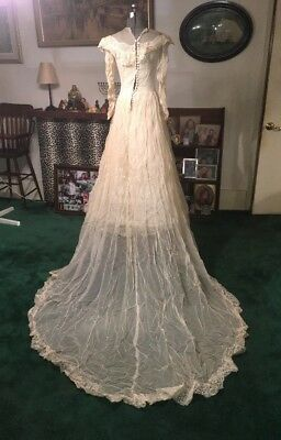 Vintage 1940s Wedding Gown Dress Satin Organdy Overlay Lace Illusion Neckline