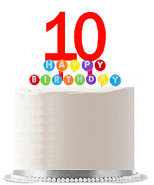 Item010 Happy 10th Birthday Party Red Cake Topper Rainbow Candle