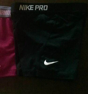 Under Armour Nike Lot Of 3 Youth Girls Athletic Compression Shorts Medium GUC