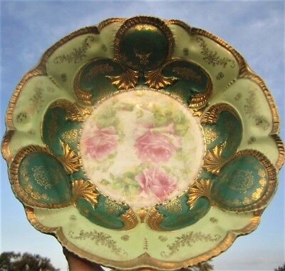 Gorgeous Antique St Killian Germany Mint Kelly Green Gold Pink Rose Serving Bowl