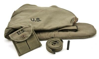 WW2 .30 M1 CARBINE SLING OILER BUTTSTOCK POUCH & FLEECE CASE OD Dated 1944