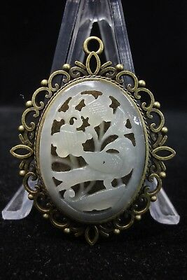Fine Old Chinese Natural White Jade Inlaid Metal Hand Carving Nephrite Pendant