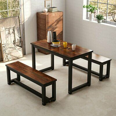 Dining Table with Two Benches 3 Pieces Dining Set Kitchen Table Set Metal Base
