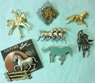 Lot of 7 Vintage Antique HORSE Mixed Metal Brooches Pins 3 are signed AJC*K&T*AK