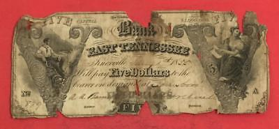 """1861 $5 US """"TENNESSEE"""" Bank LARGE SIZE Currency! Hard to Find! Rough!"""