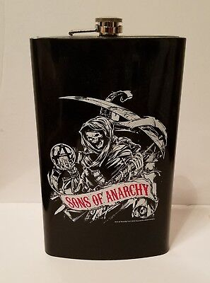HUGE Sons of Anarchy Steel FLASK Skeleton Black Chrome Screw Top Never used 2014