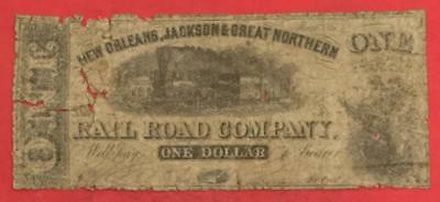 1861 $1 US New Orleans, Jackson & Great Northern Rail Road LARGE SIZE Currency