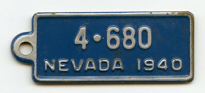 Rare 1940 Nevada NV Goodrich Tires Batteries License Plate Key Chain Tag Fob