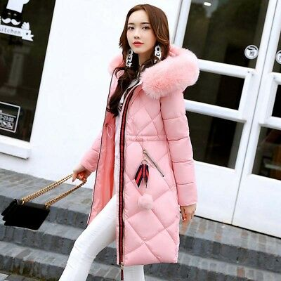 5409cd7468a Winter Women s Long Down Jacket Hooded Quilted Cotton Coat Fur Collar Parka  Warm