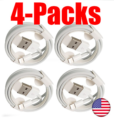4 PACK OEM Lightning USB CHARGER CABLE For ORIGINAL Apple iPhone X 8 7 6 5 (3FT)