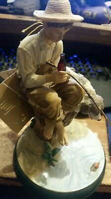 Coca Cola Heritage Collection Norman Rockwell Boy Fishing Figurine