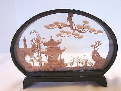 Chinese Diorama Pagoda Vintage Asian Decor 1960s Carved Cork Black Lacquer