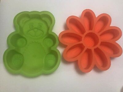 2x Cake Mold Silicone Tins Teddy Bear & Flower Brand New