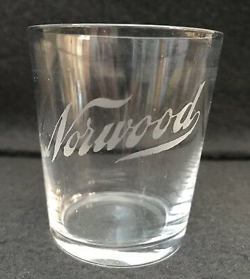 Pre Pro Acid Etched Blown Glass Shot Glass Norwood Chicago c. 1905