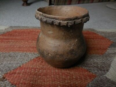 Authentic Early Native American Pottery Jar , hand-coiled and fired outside