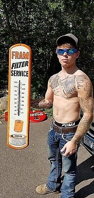 Vintage Large Metal Fram Auto Parts Metal Thermometer Sign Oil Gas Gasoline 39X8