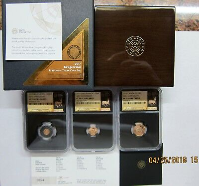 2017 South Africa 3-Coin Krugerrand 50th Anniversary Proof Set NGC PF70.