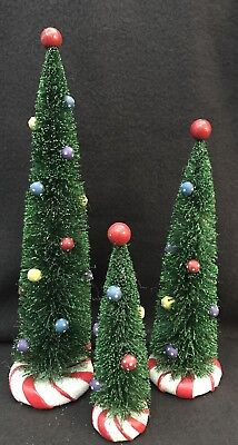 Department 56 Peppermint Trees Christmas Village Lot of 3