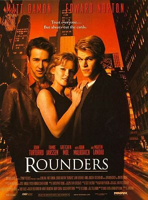 Rounders Matt Damon Edward Norton Original Single Sided 27x40 Movie Poster 1998