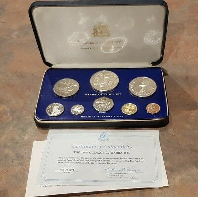 1976 Barbados proof coin set.  Franklin Mint. With Certificate of Authenticity