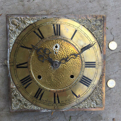 Antique Grandfather / short case Clock Brass Face original hands - tells time !
