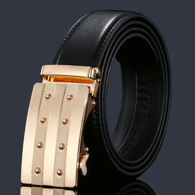 Men's Genuine Leather Belt trouser Jeans gift Waistband Automatic Buckle Strap