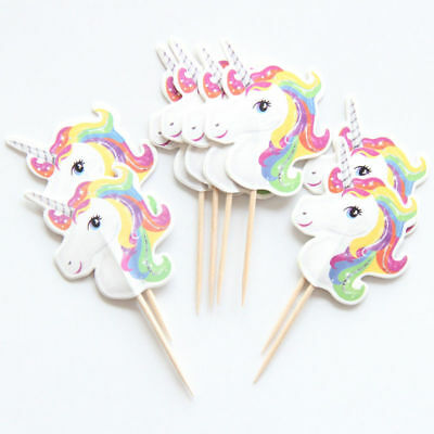 24pcs Unicorn Cake Picks Cupcake Toppers Flags Happy Birthday Kids Party Decor