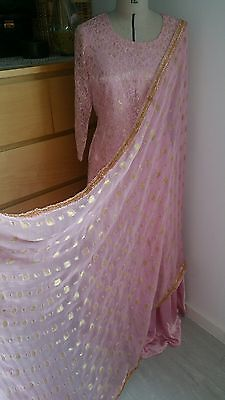 Pakistani traditional pink and gold silk lengha gharara anarkali shalwar kameez