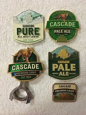 Cascade Pale Ale Pure Malt Lager Beer Tap Decal Top Badge Metal Tasmanian Tiger