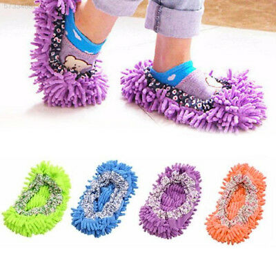 EB49 1Pair House Floor Cleaning Mop Cleaner Slipper Removable Washable Dust Clea
