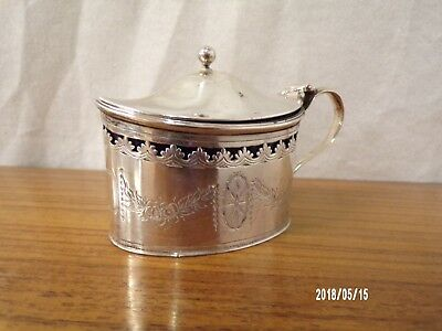 English Edwardian Solid Silver Mustard Pot with liner, London 1907, C J Vander