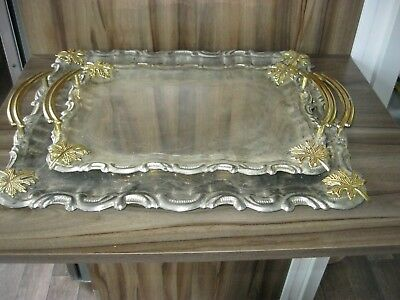 Pair of Vintage French White Metal with Gold Handles Tray