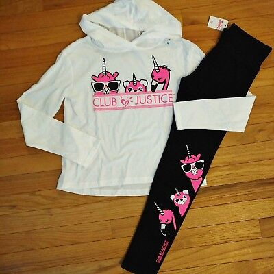 NWT Justice Girls Outfit Hooded Top/Legging Size 6 7 8 10 12  Club Justice