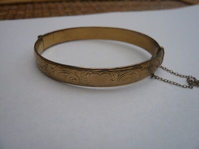 Antique Style Vintage Old 1950,s 1960,s Rolled Gold Bangle Bracelet Shabby Look