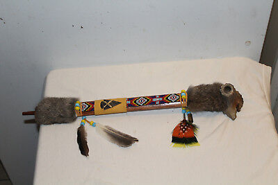 """AUTHENTIC NATIVE AMERICAN PEACE PIPE By NAVAJO ARTIST D. YAZZIE With COA-18 1/4"""""""