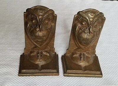 Bradley And Hubbard Cast Iron Bookends Pair Wise Owls Bronze Tone