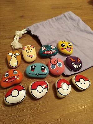 Story Play Rocks Pokemon Hand Painted handmade Natural play indoor outdoor kids