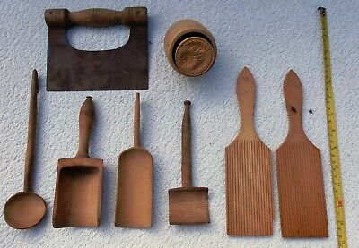 Vintage Wooden Ridged Butter Pats –Butter Stamp –Wooden Spoons/scoops–Choppe