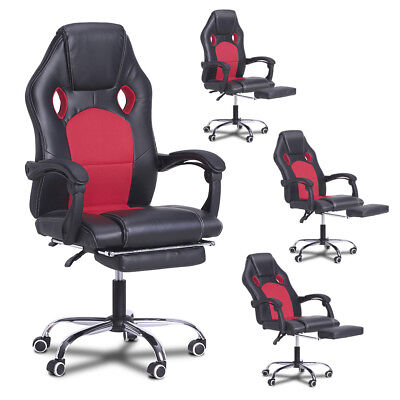 Ergonomic Office Gaming Chair Racing Bucket Seat PU Leather Recliner Footrest