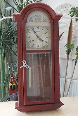 Old English Wind up wall clock. Copper mechanism in need of repair or for spare