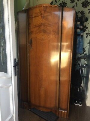 Antique Gents Wardrobe Nairn and Arthur Ltd Walnut Veneer Art Deco Shabby Chic