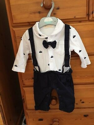 Baby Boy Bodysuit Christening Wedding Xmas Babygrow Outfit Suit 0-3 Months