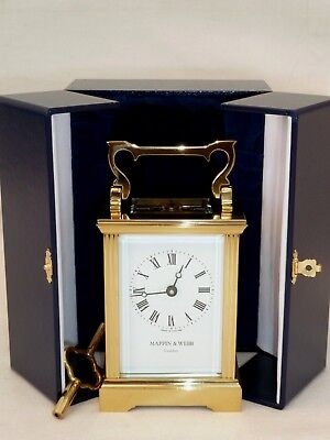 Superb Mappin & Webb Solid Brass Carriage Mantel Mantle Clock + Show Case & Box